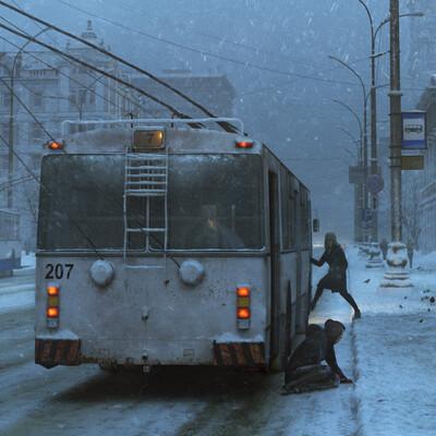 busstop, cgi, cgart, winter
