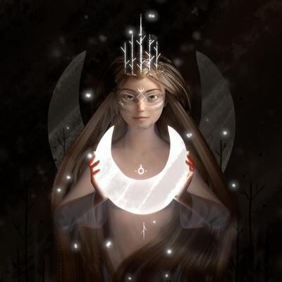 Characters, Fantasy, Concept Art, queen, texture, Portrait, girl, hair, moon