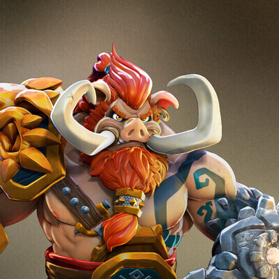 Digital 3D, Characters, Concept Art, game art, warrior, Character, orc, piggy, concept