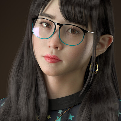 3d, art, Artwork, 3Dsmax, ZBrush, Japanese, russian, young, girl, lady