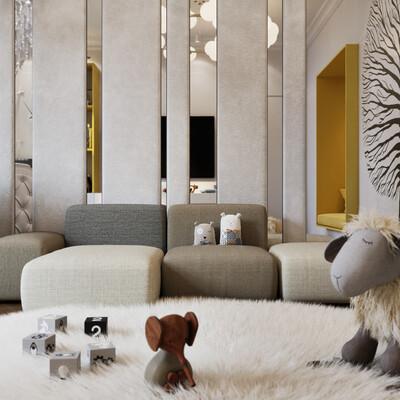 детская, комната, интерьер, дизайн, современный, мягки, ковер, кроватка, диван, светлый