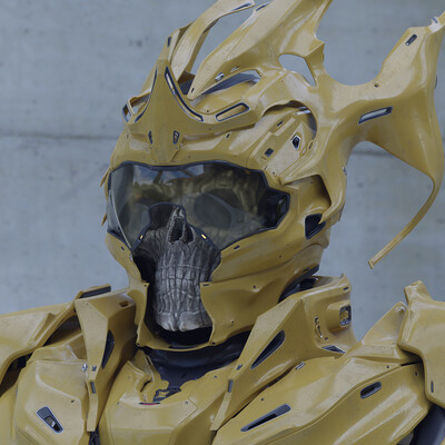 b3d, blender3d, skull, Horror skull, sci-fi armor, design_character