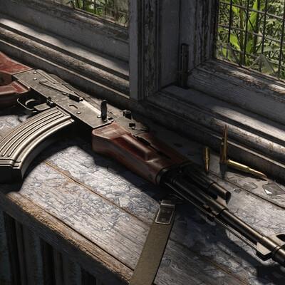 Ак47, оружие, автомат, текстурирование, блендер, локация, волюметрика, сайклз