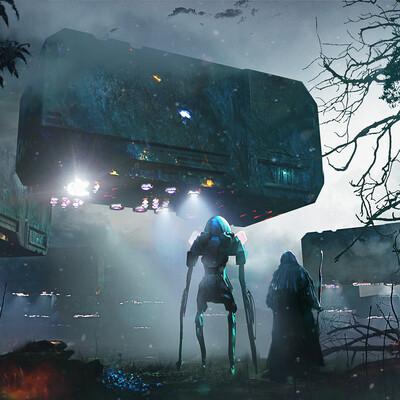 научная фантастика, инопланетянин, темный лес, магия, Космический корабль, ночь, Концепт-арт, концепт