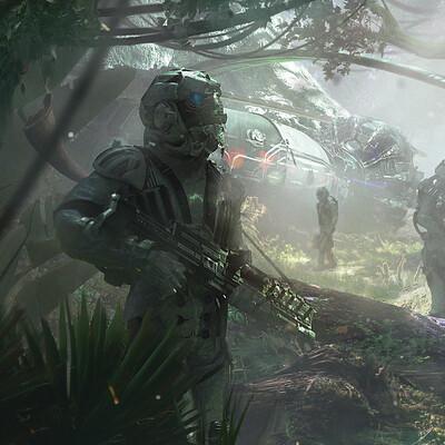 джунгли, научная фантастика, астронавты, иллюстрация, лес, солнечный день, другая планета