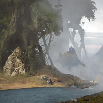 окружение, гиганты, Деревья, река, горы, космически корабль, крушение