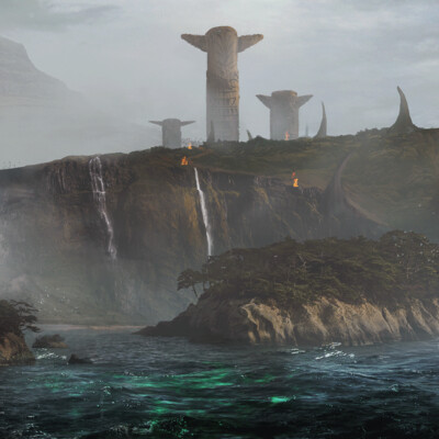 viking, Vikings, totem, ship, island, Fog, drakar