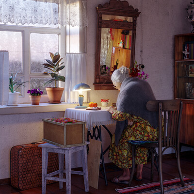 3D visualization,, retro, grandma, USSR, village