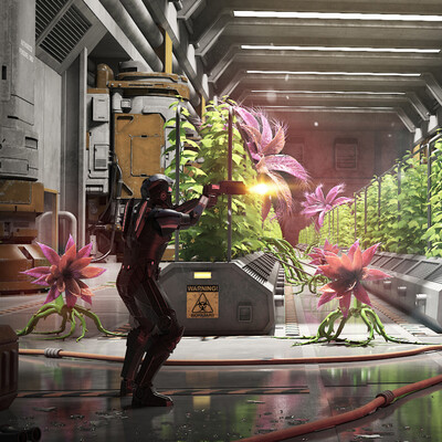 Space, Plants, cyborg