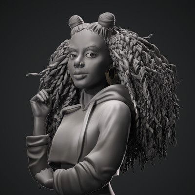 3d girl, portrait girl, sculpt, characterdesign, characterart