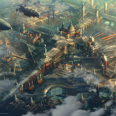 Concept art, enviroment, cityscape, city, britain, London, art 2D, steampunk, steampunk art, atmosphere