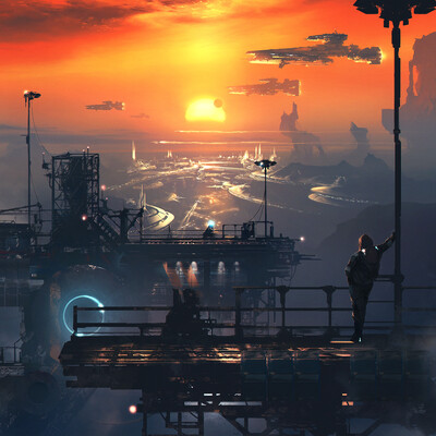 sci-fi, environment, horizon, sunset, space ship, future, planets, clouds, city