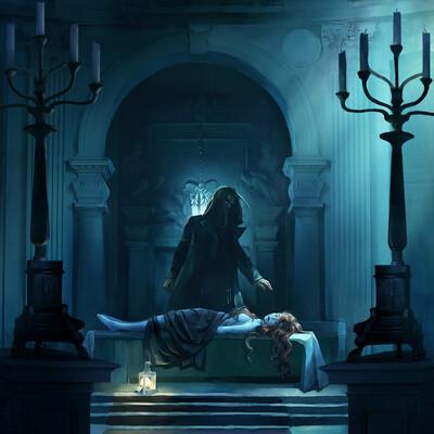 иллюстриция, смерть, мертвый, тело, Луна, интерьер, Концепт Арт, дизайн окружения, концепт окружения, замок