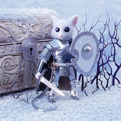 MouseKinght, мышь, доспехи, Сундук, зима, снег