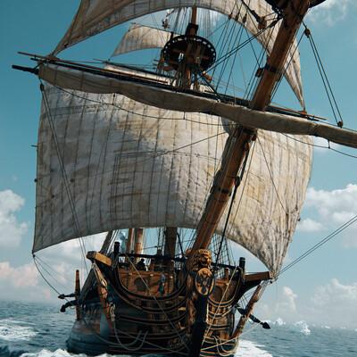 3D Studio Max, 3d, water, Water Simulation, Simulation, Fluid Simulation, ocean, sailship, sail