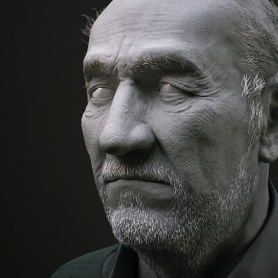персонаж, старик, голова, скульптинг