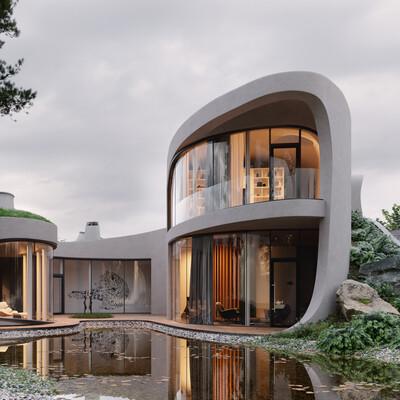 дом, дом хоббита, зеленая крыша, вилла, коттедж