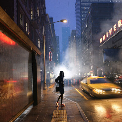 3ds Max, night city, FStorm Render