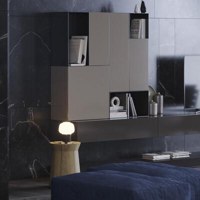 interior, furniture, corona, mimimal, black, Dark, brown, white, mable, open