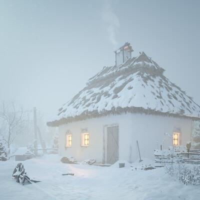 солома, снег, метель, зима