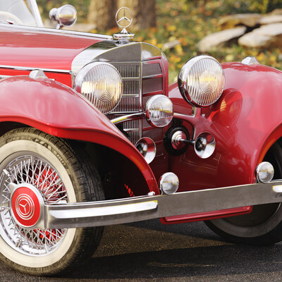 машина, mercedes, Roadster, retro, car, environment, окружение