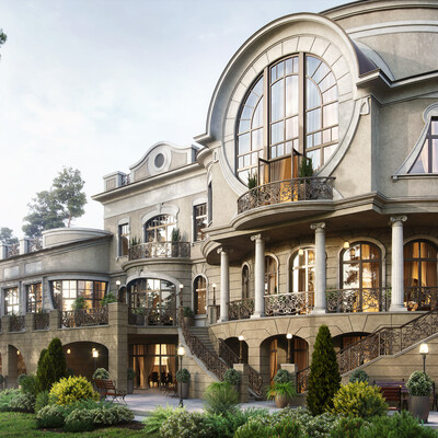 3ds Max, Corona Renderer, Adobe Photoshop, Exterior, archviz, house visualization, art nouveau