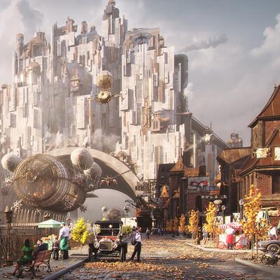 Concept Art, Environments, illustration, steampunk, Town, city, Industrial, architecture, kitbash, Digital 3D