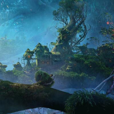 лес, маленькая деревня, деревня на дереве, вечер, магия, фентези, фентези арт