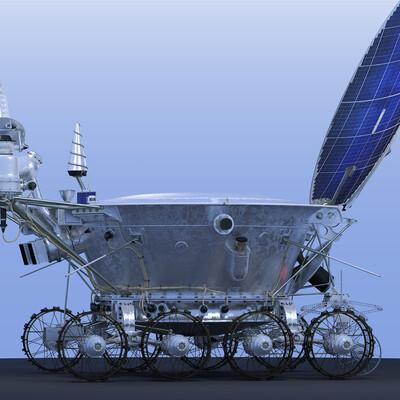 spacecraft lunar rover moon vehicle Lunokhod-2 Lavochkin Proton-K rovers Lunokhod Lunokhod-1 Luna-21 3d model moonwalker ussr space Soviet