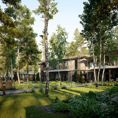3D Architecture, landscape, private house, architecture, architectural visualization