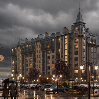 Exterior, building, house, evening, sunset, morning, autumn, rain, architecture, visualization