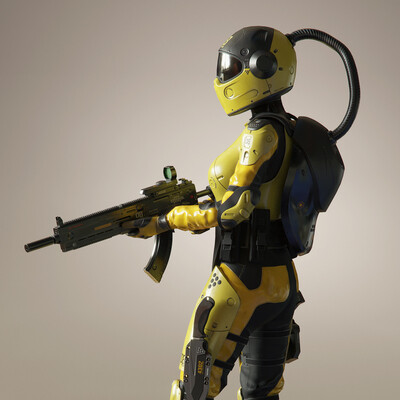 game, military, low-ploy, female character, woman, Equipment, sci-fi,, sci fi armor, armor, weapons