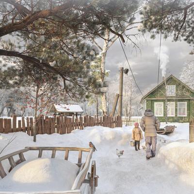 village, villa exterior, home, forest, snow, snowman