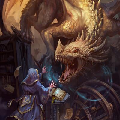 драконы, дракон, магия, волшебник, Фэнтези, Концепт-арт, Призыв, существо, Монстры