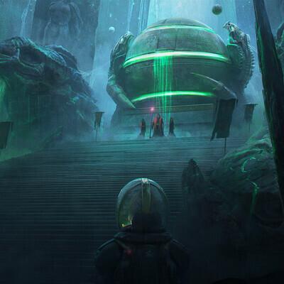 sci-fi, пещера