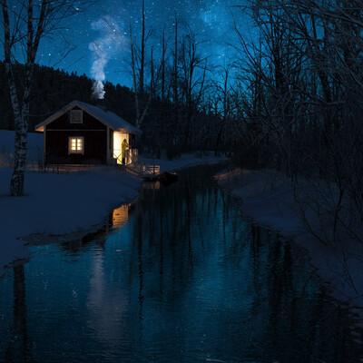 коронарендер, дом, снег, тишина, река, зима, ночь, 3дмакс, изоляция