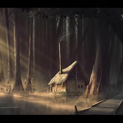 болото, закат, хижина, лучи, свет, вода, лес, отражение, концепт окружения, мостик