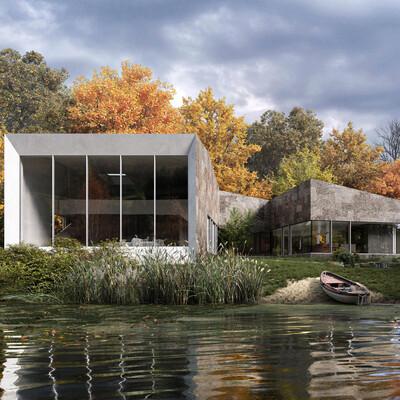Дом в лесу, Природа, осень, лес, озеро, 3D архитектура, архвиз