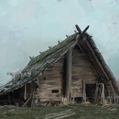 Концепт-арт, концепт, землянка, окружение, дом, Старый дом