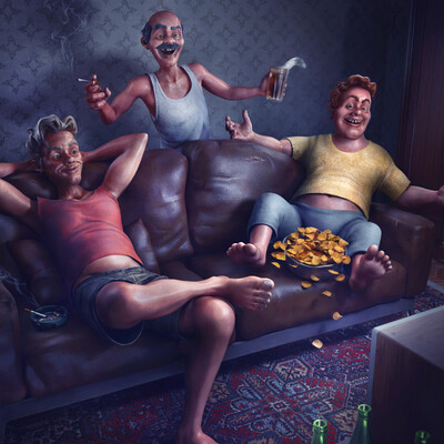 Character, illustration, Happy, friends, fans, home, beer, sofa, old tv
