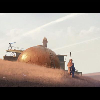 Фантастика, Фэнтези, пустыня, жрецы, Космический корабль, закат, странники, местные жители, концепт окружения, степь