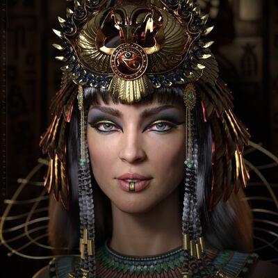 Клеопатра, 3д, 3д персонаж, женщина, девушка, египет