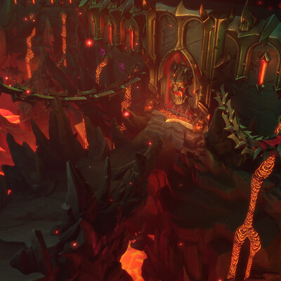 Fantasy, Dark Siders, stylized, ORB, lava, dungeon, Environments