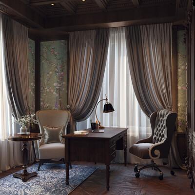 interior, interiordesign, 3d visualization, office, green, flower, furniture, wood, house