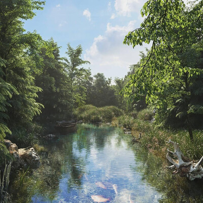 Nature, river, 3ds Max, 3d visualization