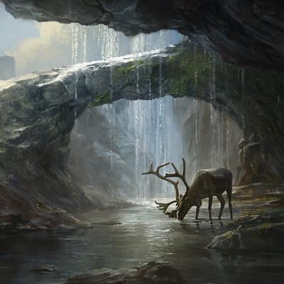 landscape, Nature, environment, Concept Art, Deer, rock, water, ruins, post-apocalypse, 2d