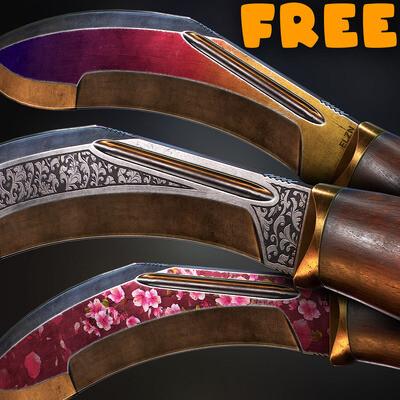нож, мачете, реалистичный, PBR, метал, дерево, ближний, детализированный, оружие