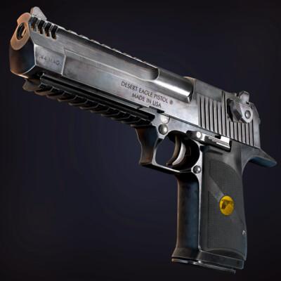 оружие, пистолет, реалистичный, PBR, дигл, магнум, проп, металл