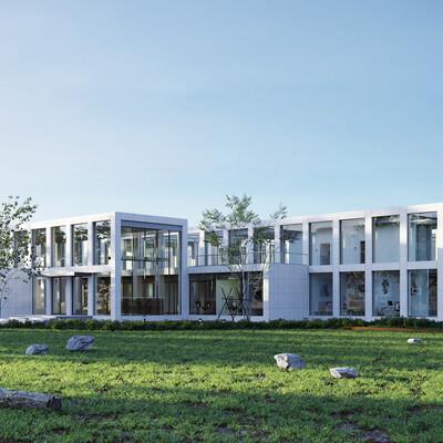 gallery, greenhouse, Exterior architecture, exterior., exterior design, 3D Architectural Visualization Architecture Public building interiordesign exterior visualisation