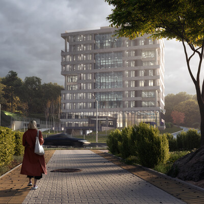 архитектурная визуализация, Офисное здание, architecture, visualization, modern office, closeup